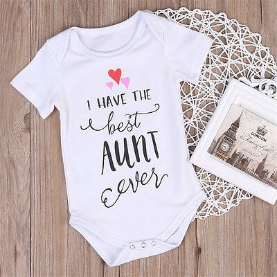 Baby's Short Sleeve 'I Have The Best Aunt Ever' Cotton Letter Printed Onesie