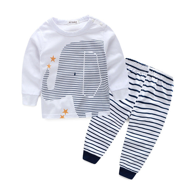 2-Piece Elephant Print Long Sleeve Shirt & Striped Pants For Baby