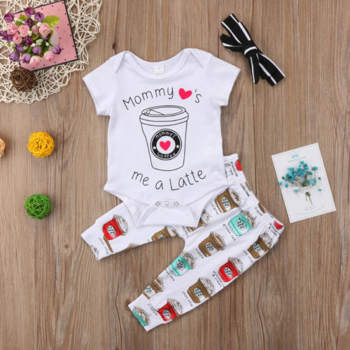 3-PCS Baby Girl's 'Mommy Loves Me a Latte' Outfit Set