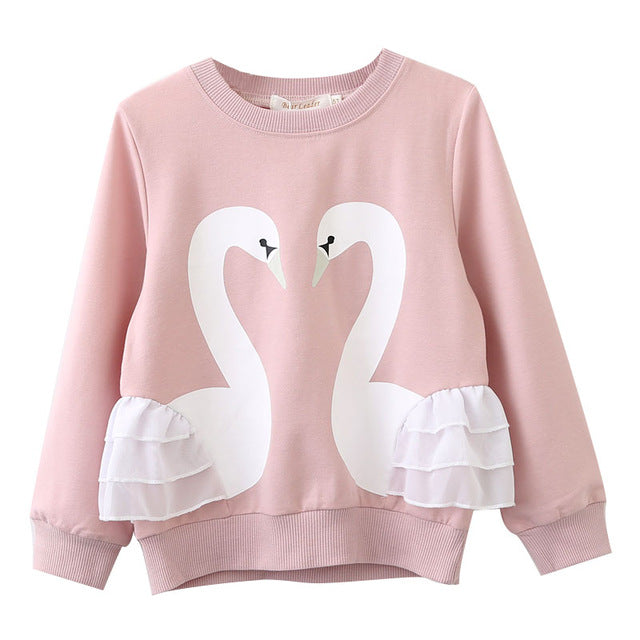 Pink Swan Long Sleeve Sweatshirt For Girls 3T-7