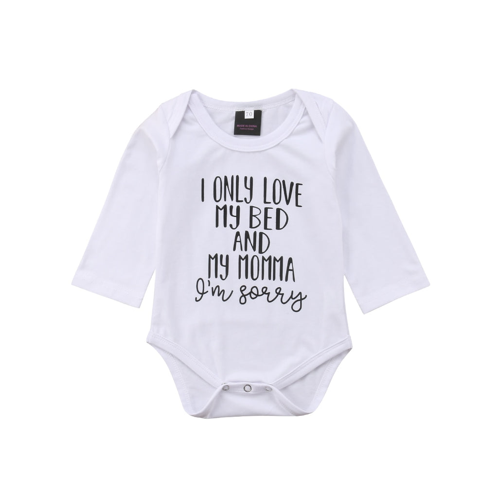 Baby's 'I Only Love My Bed and Momma' Printed Cotton Onesie