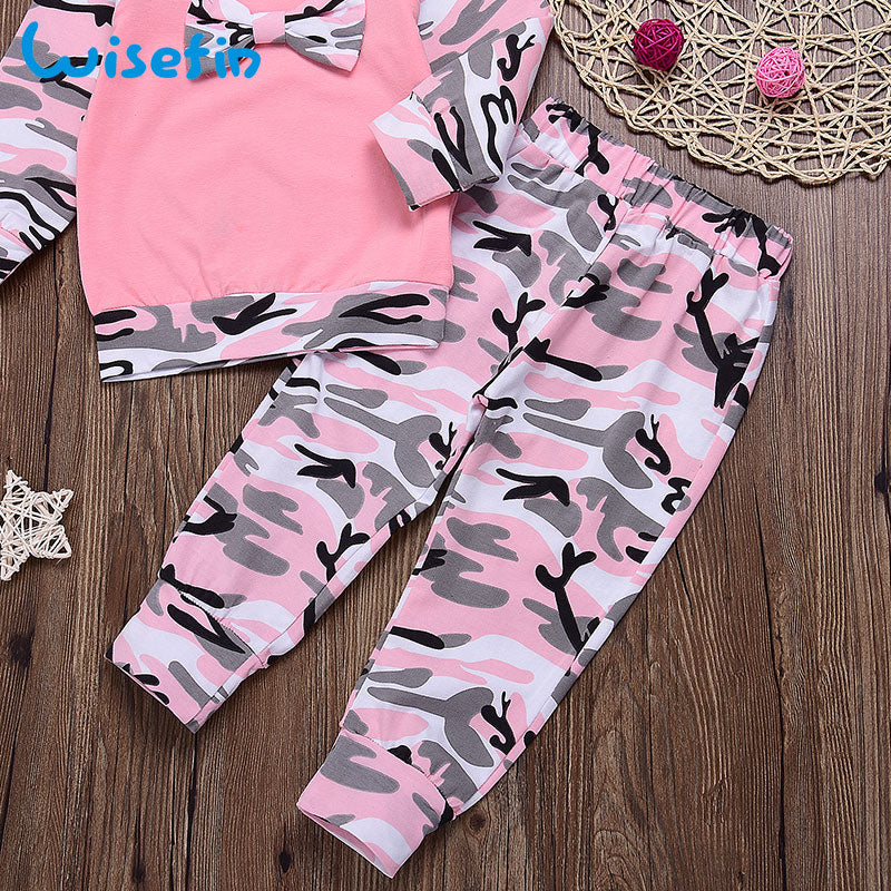 3-PCS Baby Girl's Pink Camo Outfit Set