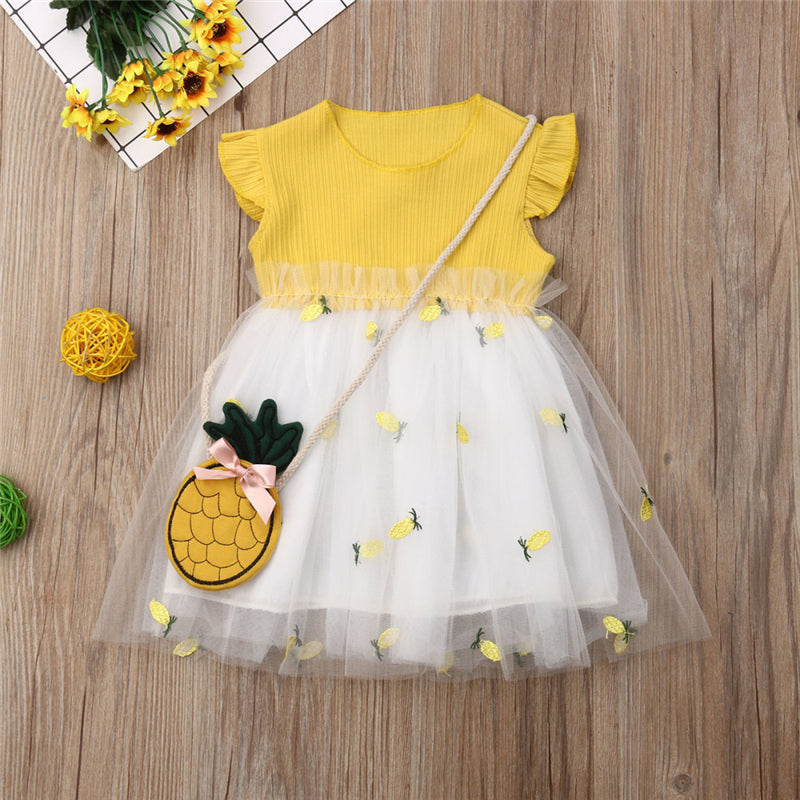 Girl's Pineapple Tulle Dress For Baby & Toddler