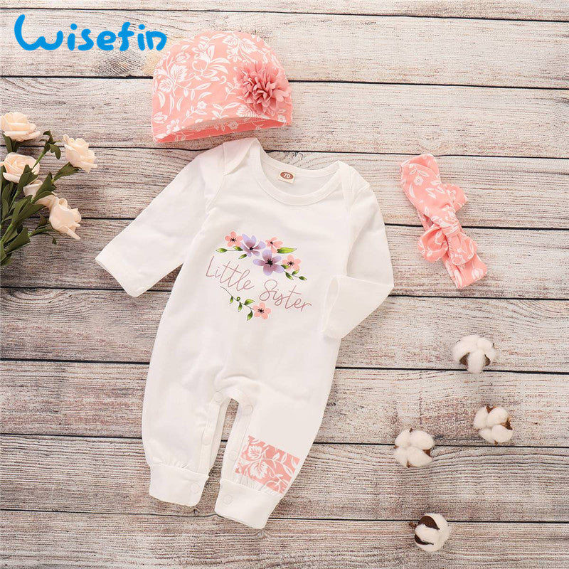 3-PCS  Baby Girl 'Little Sister' Long Sleeve Jumpsuit Outfit