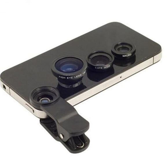 Wide Angle + Fish-Eye + Macro Mobile Phone Lens Kit (3 in 1) - RockyTrade.net