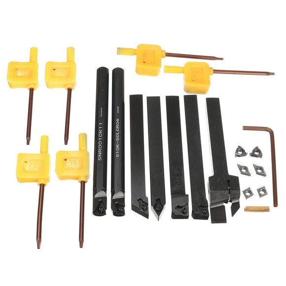 7pcs 10mm Shank Lathe Turning Tool Holder Boring Bar with Carbide Inserts - RockyTrade.net