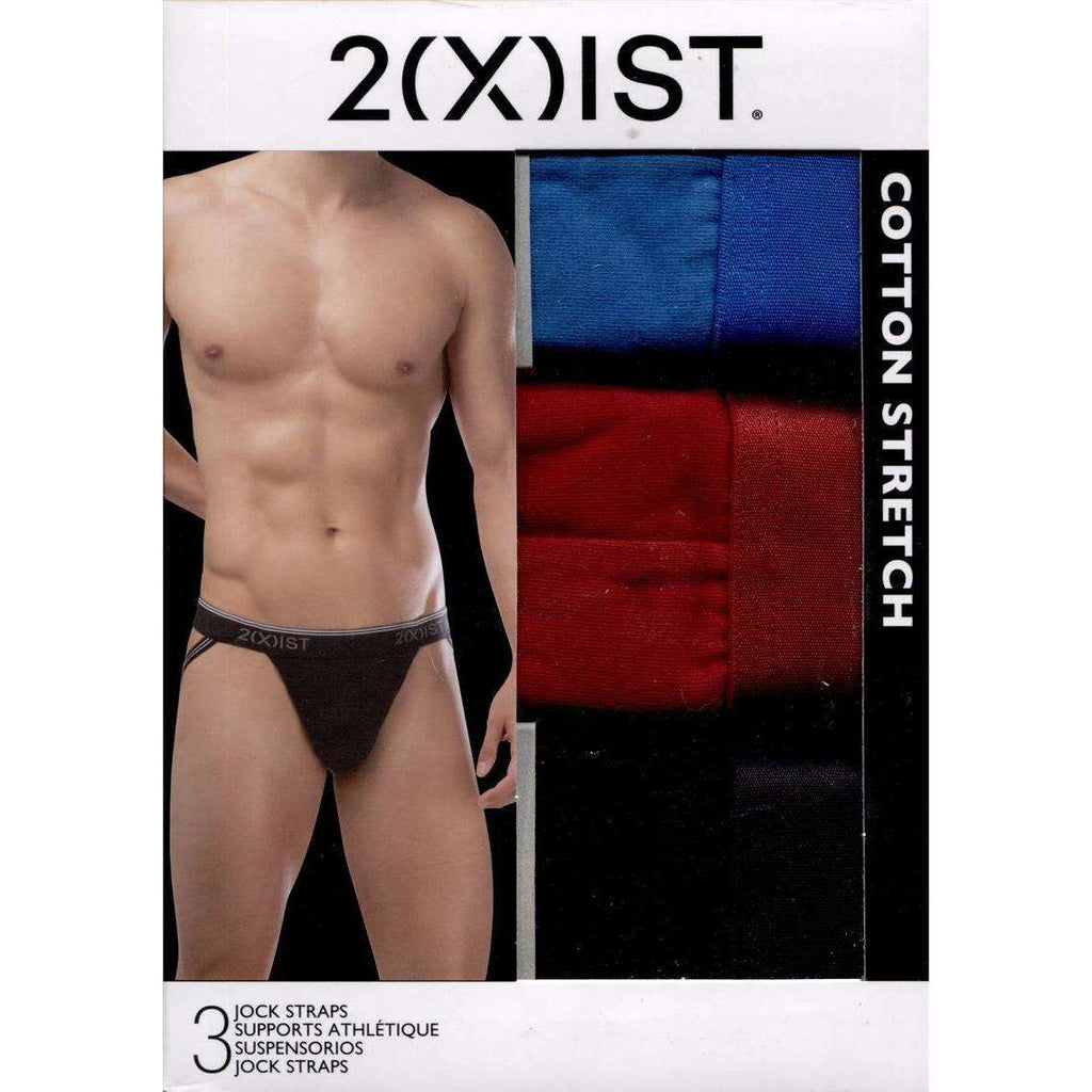 2XIST Cotton Stretch Jock Strap 3-Pack - Blue/Red/Black