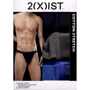 2XIST Cotton Stretch Jock Strap 3-Pack - Eclipse/Lead/Blue