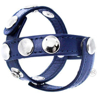 Cobalt Blue Leather Cock and Ball Harness