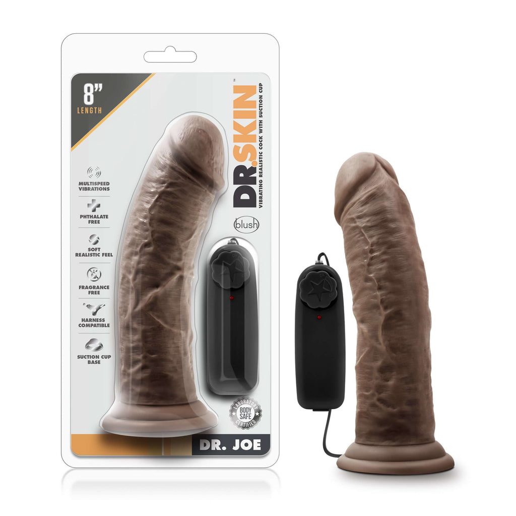 Dr. Skin - Dr. Joe - 8 Inch Vibrating Cock with Suction Cup - Chocolate