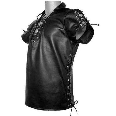 Leather Front And Side Lace Muscle Shirt - Limited Sizes