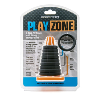 Perfect Fit Brand - Play Zone 9 Xact-Fit Silicone Cock Ring Kit - Set of 9 Rings