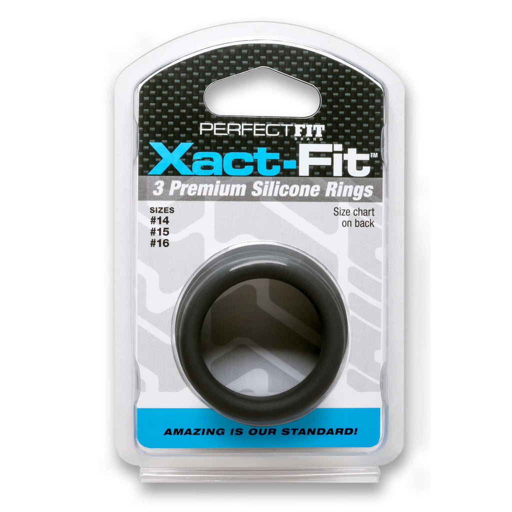 Perfect Fit Brand - Xact-Fit Soft Touch Silicone Cockrings  #14, #15, & #16 - Set of 3