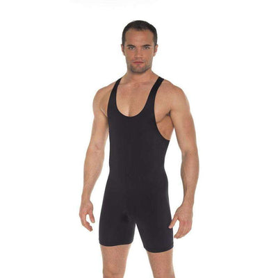 Rimba - Black Tank And Shorts Style Bodysuit Wrestling Singlet