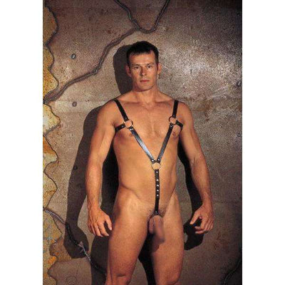 Rimba - Leather Body Harness With Cock Ring