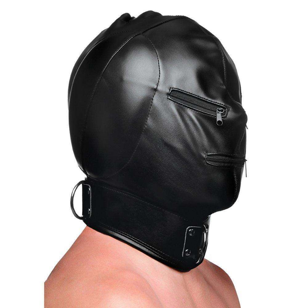 Strict - Bondage Hood with Posture Collar and Zippers