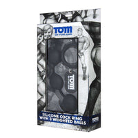 Tom of Finland Tools - Silicone Cock Ring with 3 Weighted Balls