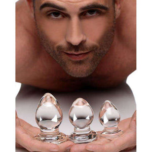 Triplets 3 Piece Glass Anal Plug Kit