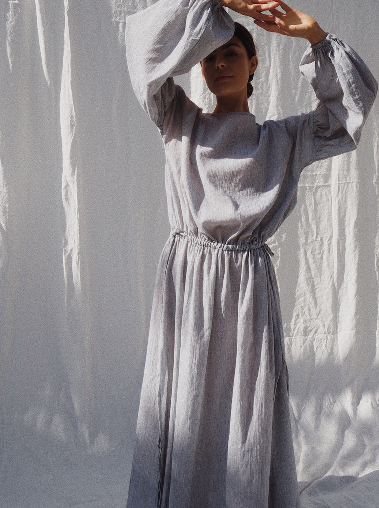 Kaspara Billowed Sleeve Linen Dress in white - UNIK by us