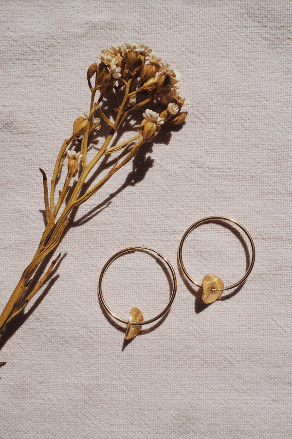 Circle hoops with gold disc earrings