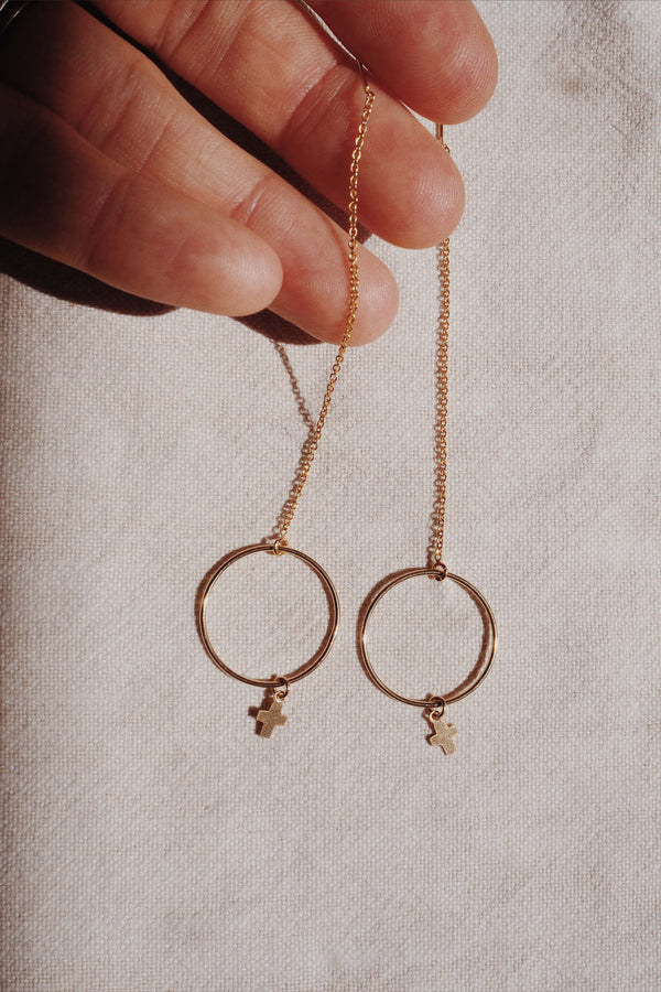 Cross & Circle thread through earrings