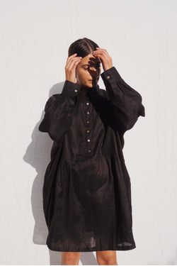 UNIK by us Byron Oversized Linen Shirt in Black
