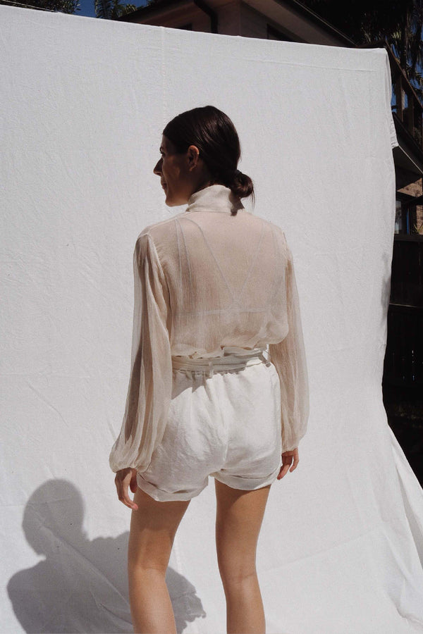 UNIK by us Taylor Silk Blouse in Ivory