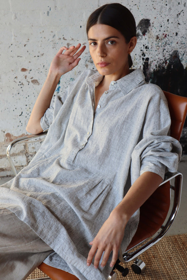 Byron Oversized Shirt - Grey Stripe