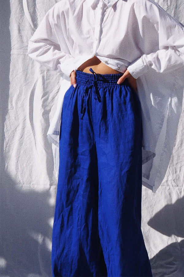 UNIK by us Jonathan Wide Leg Linen Pants in Pop Blue