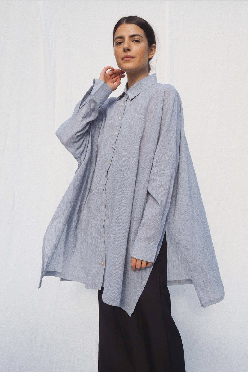 UNIK by us Oscar Oversized Cotton Shirt in Black Pinstripe