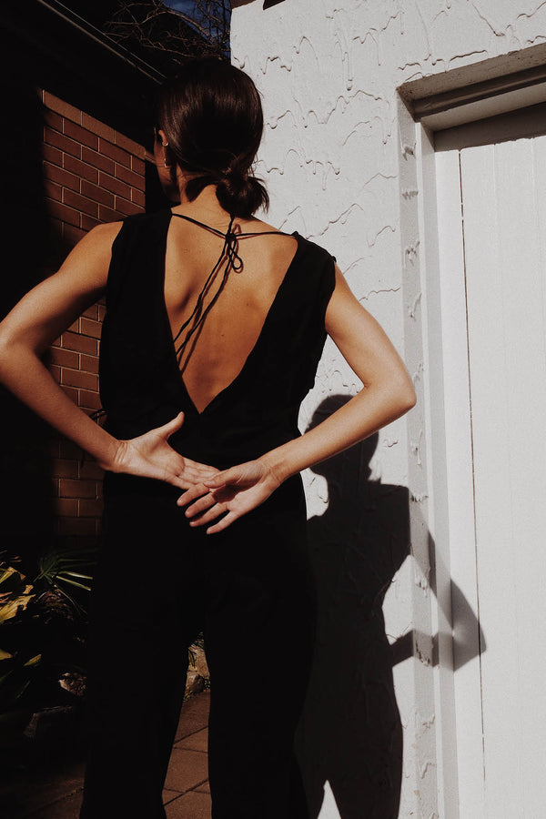 Valentina Silk Jumpsuit - Black