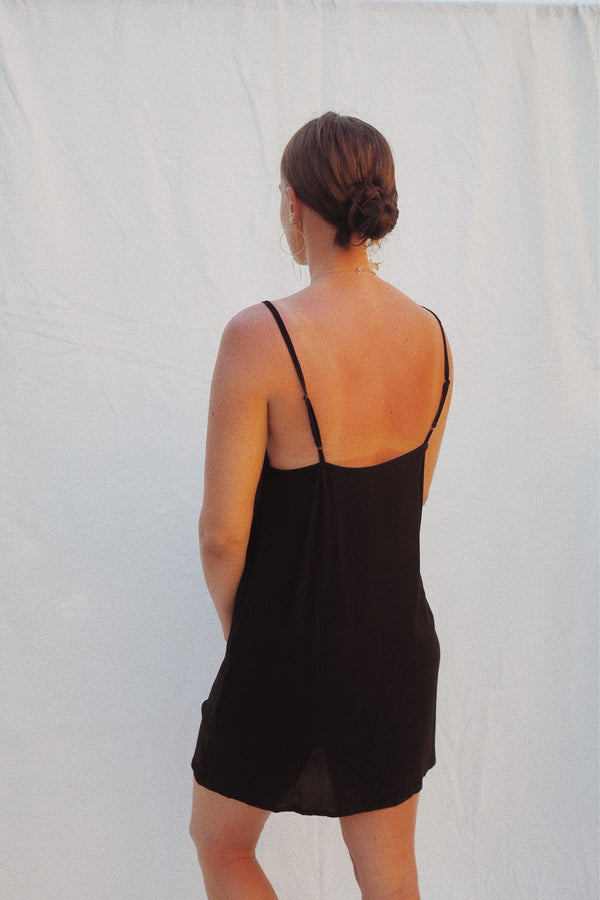 Percy Short Slip Dress - Black
