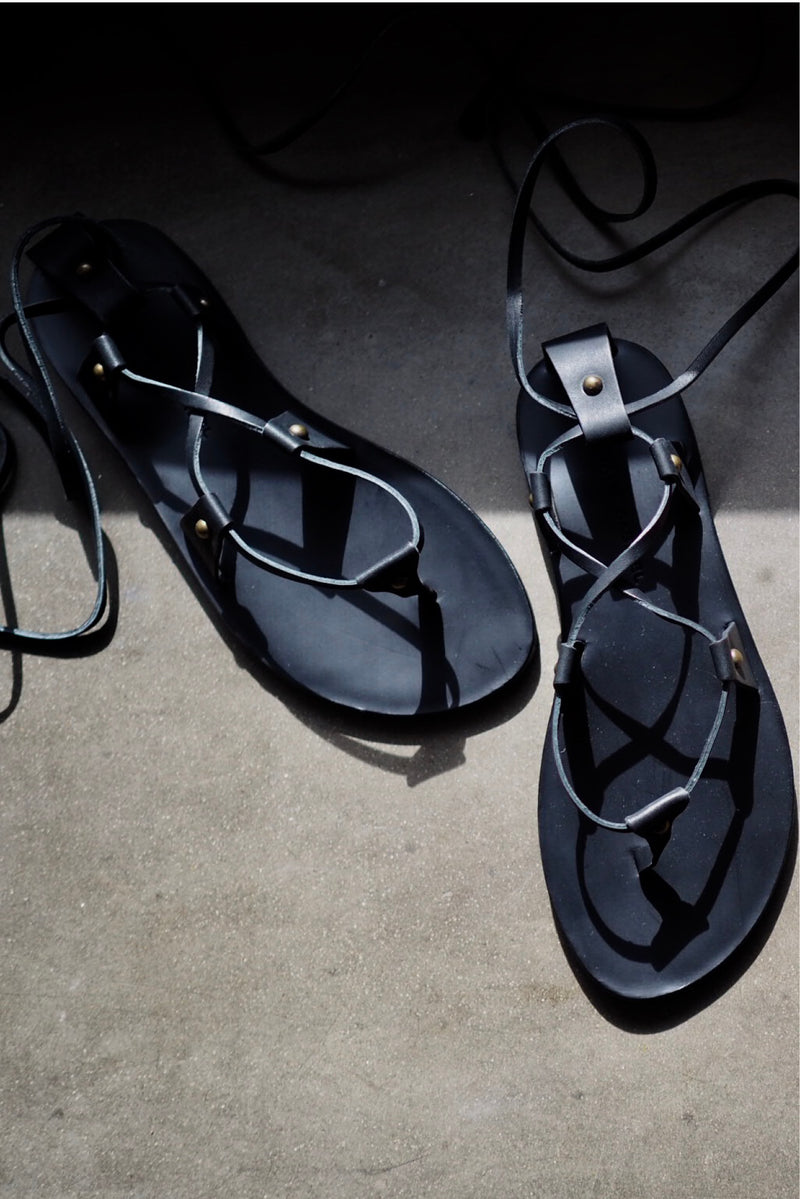 Lia Leather Sandals - Black