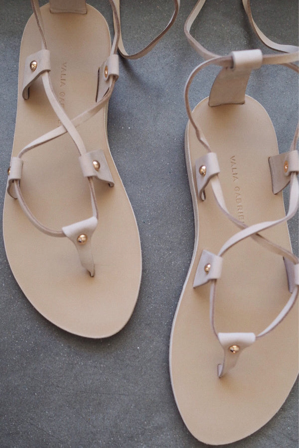 Lia Leather Sandals - Light Sand