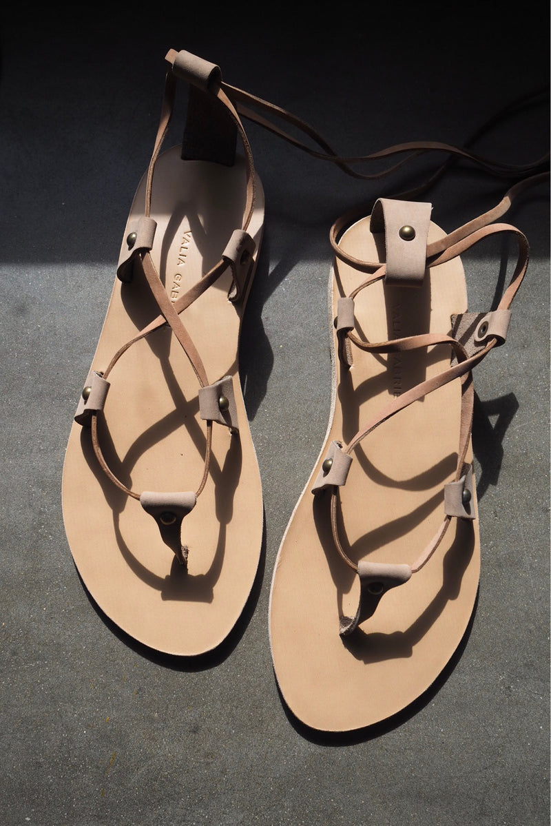 Lia Leather Sandals - Tan