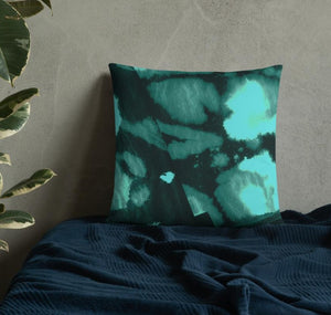 """Deep Green River"" Abstract Throw Pillow"