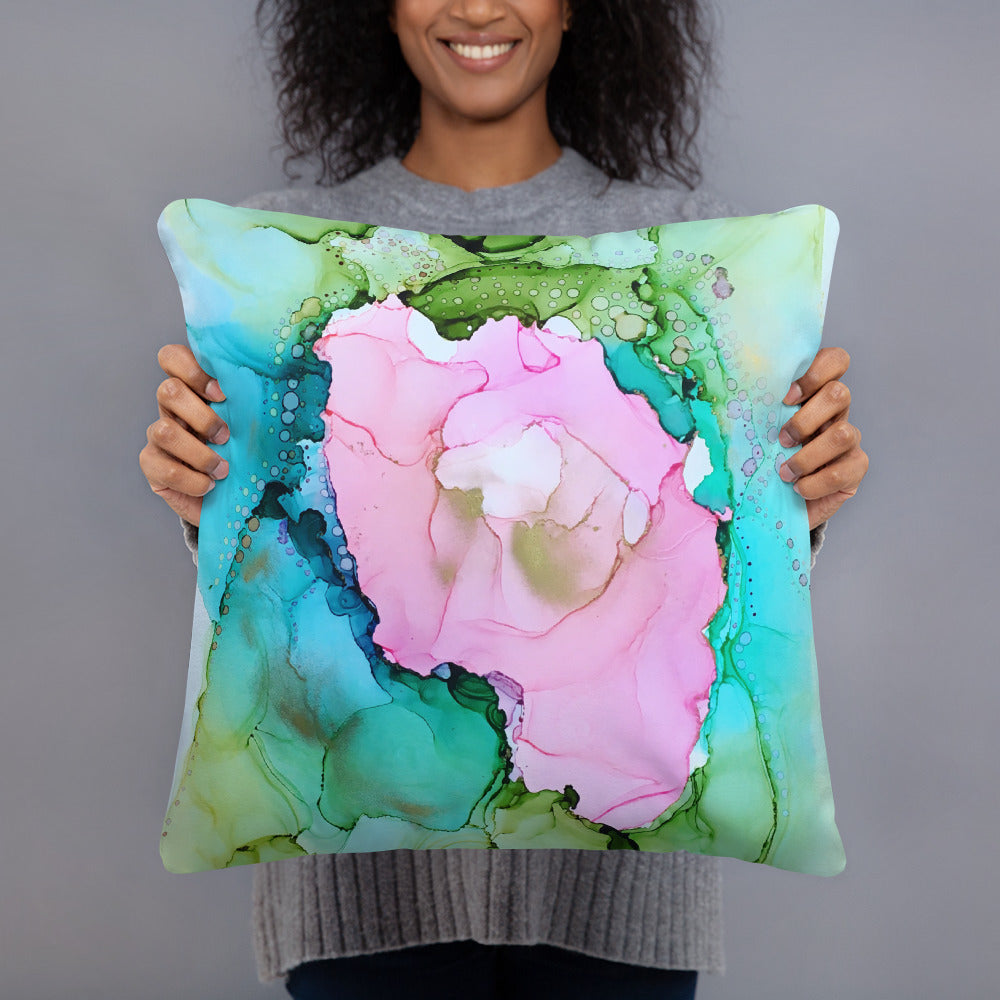 """Secret Garden"" Abstract Throw Pillow"