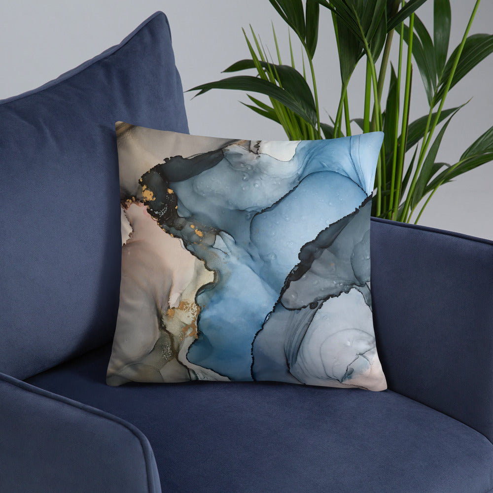 """Blue Dreams"" Abstract Throw Pillow"