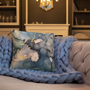 """Oceanic"" Abstract Throw Pillow"