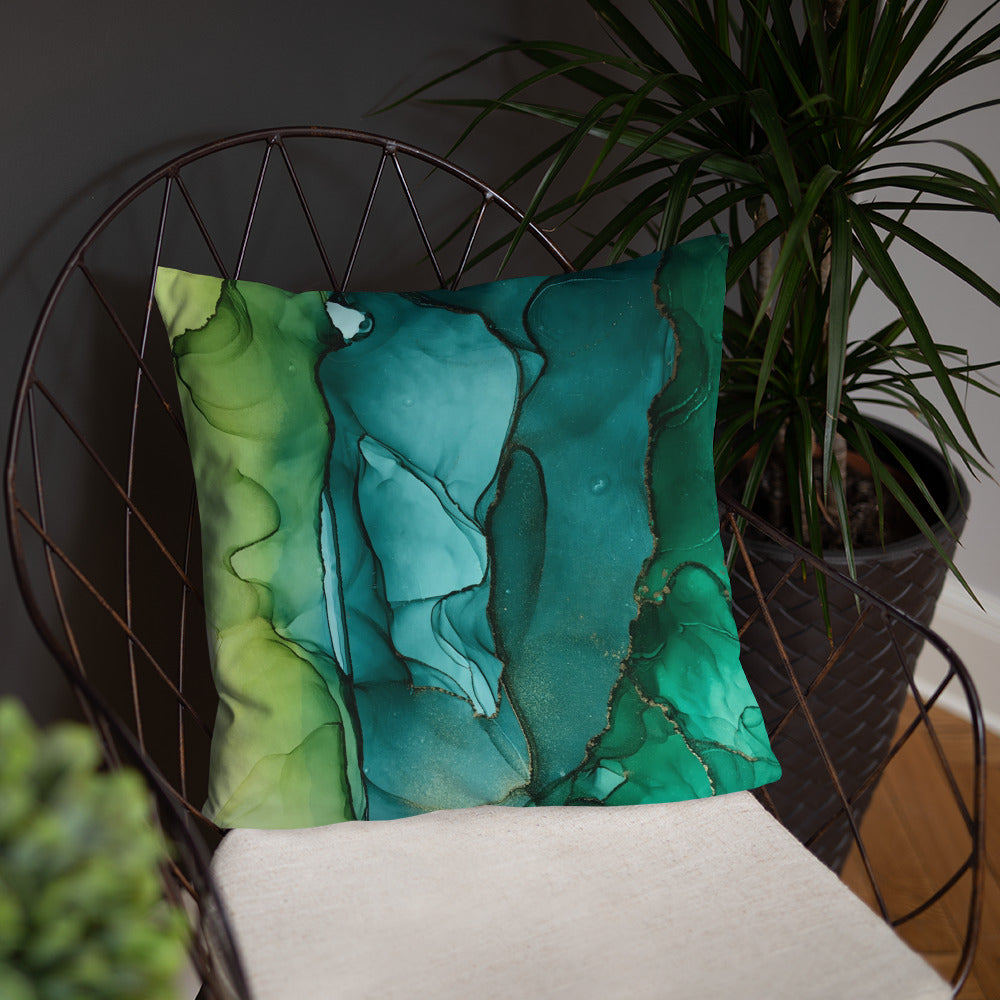 """Green Dream"" Abstract Throw Pillow"