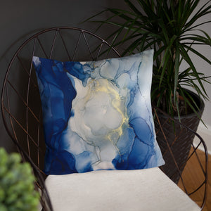 """Something Blue"" Abstract Throw Pillow"