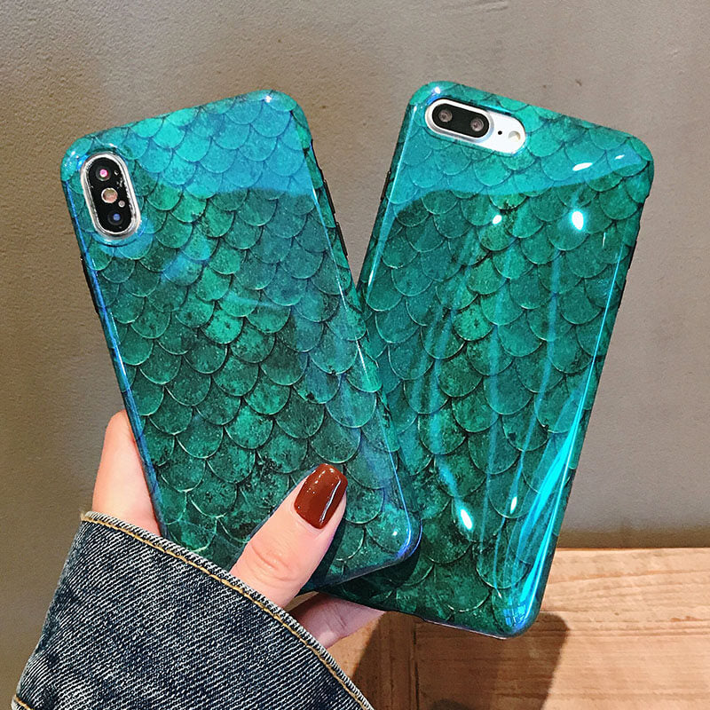uk availability 2cc19 a3864 Blue Ray Mermaid Theme Phone Case For iphone 6 6S 7 8 Plus X