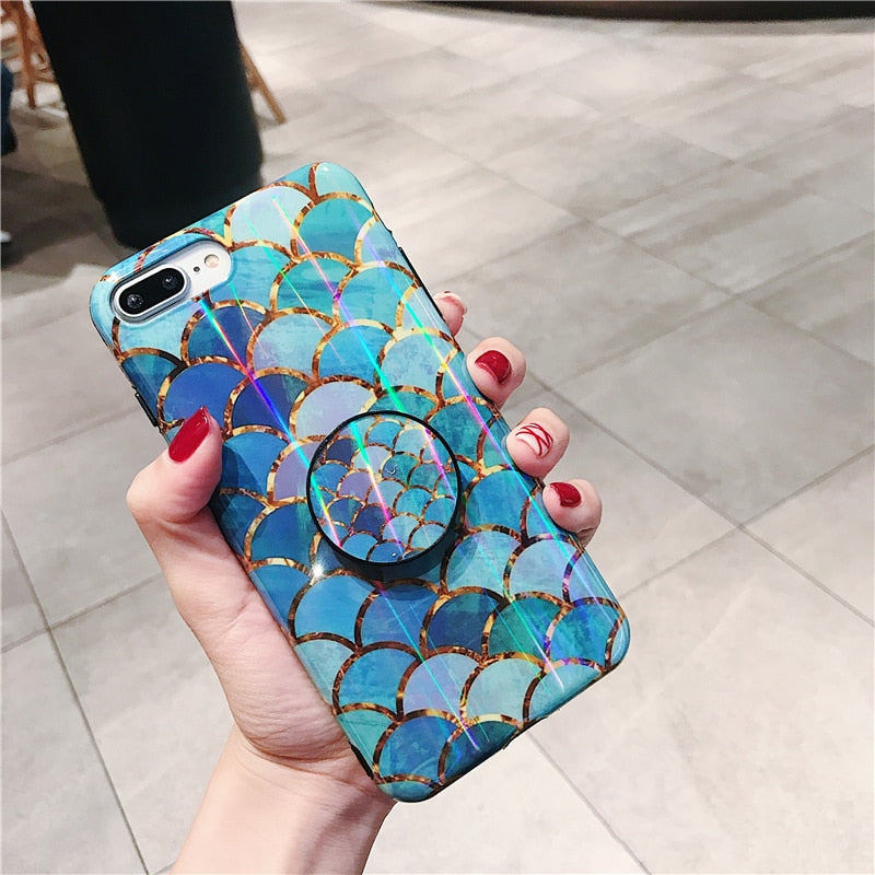 newest a579b fb488 Shiny mermaid scales laser phone case for iphone X 6 6s 7 8 7plus with  Stand holder