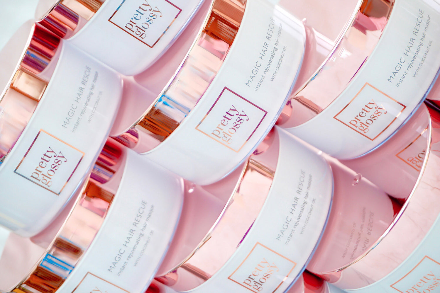 Pretty Glossy Magic Hair Rescue Masque Rose Gold Jar Packaging