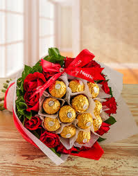 12 pcs Ferrero Rocher and 12 pcs Red Holland Roses in a Bouquet
