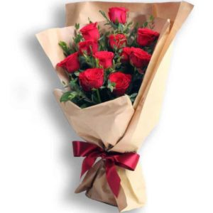 12 pcs Long Stem Red Roses with Red Ribbon