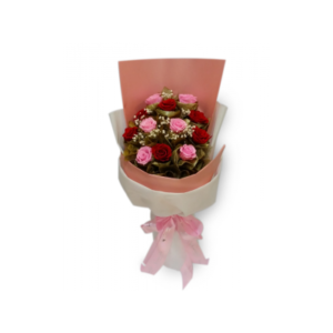 12 pcs Soft Pink and Red Holland Roses in a Bouquet