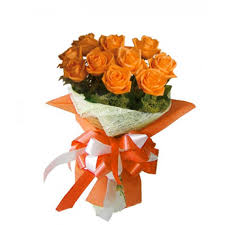 1 dozen Orange Roses in a Bouquet