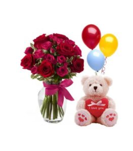 1 dozen Red Holland Rose in a Vase with Teddy Bear 8″ inches and 3 pcs balloon