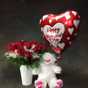 1 dozen Red Holland Rose in a Vase with Teddy Bear 8″ inches and 1 Myllar Ballon